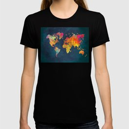 World Map blue #world #map T-shirt