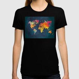 World Map blue #world #map T-shirt