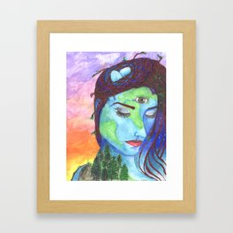 Mother Earth and a Sunset Framed Art Print