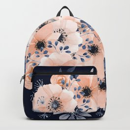 Festive, Floral Watercolor Print, Navy and Pink Backpack