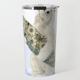 Polar bear & Surf (black) Travel Mug