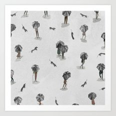 Running through the rain2 Art Print