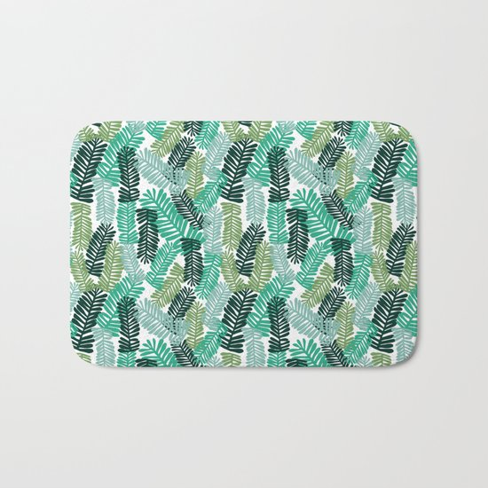 tropical plant house plant palm leaves plant watercolor painting abstract nature pattern leaf summer Bath Mat