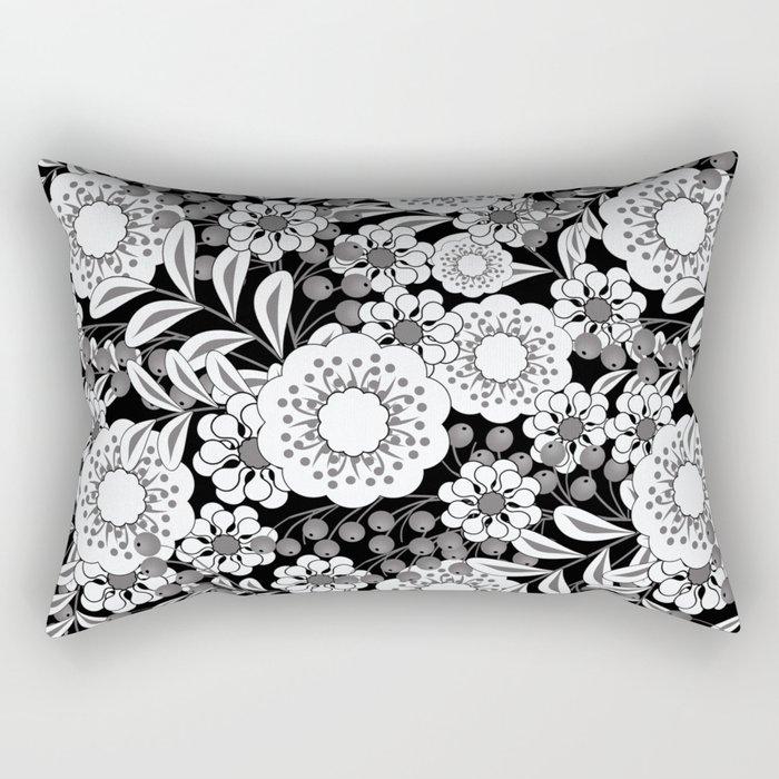 White flowers on a black background. Rectangular Pillow
