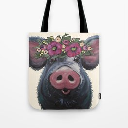 Pig Art, LuLu pig with flower crown art Tote Bag