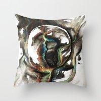 erotic Throw Pillows featuring Erotic Electronic Moon   by Pérola M. Bonfanti