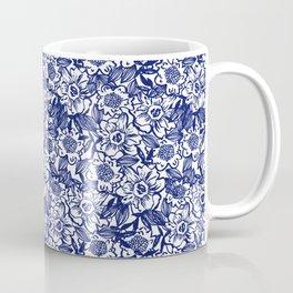 Indigo Florals watercolor painterly botanical boho pattern print nature spring summer monochromatic Coffee Mug