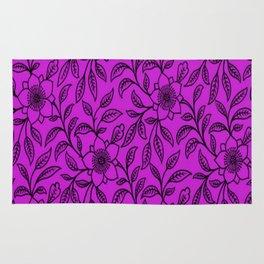 Vintage Lace Floral Dazzling Violet Rug
