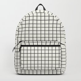 Black Grid on White Backpack