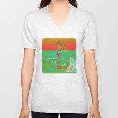 Hang 10 Lady Slider Surfer Girl Unisex V-Neck