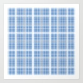 Bright Pastel Blue Tartan Plaid Check Art Print
