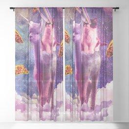 Cosmic Cat Riding Alpaca Unicorn Sheer Curtain
