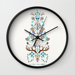 La Vie & La Mort – Turquoise and Brown Wall Clock