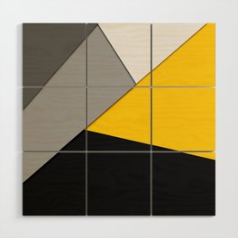 Simple Modern Gray Yellow and Black Geometric Wood Wall Art