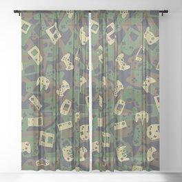 Gamer Camo WOODLAND Sheer Curtain