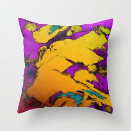 Yellow erosion Throw Pillow