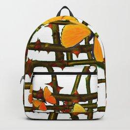 GOLDEN BUTTERFLIES THORN BRANCHES TRELLIS  PATTERN Backpack