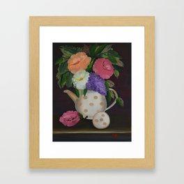 Polka Dot Teapot Framed Art Print
