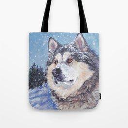 Alaskan Malamute dog portrait Fine Art Dog Painting by L.A.Shepard Tote Bag