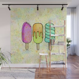 Popsicle Party Watercolor Painting, Yummy Rainbow Icecream Fun Wall Mural