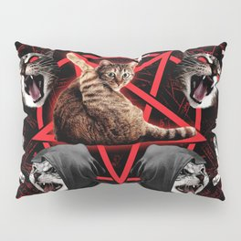 satanic cat pentagram death black metal band exorcist Pillow Sham