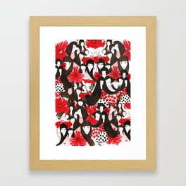 Hello Blossom Girls - Illustration By Chrissy Lau Framed Art Print