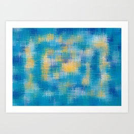 blue and yellow plaid pattern abstract Art Print