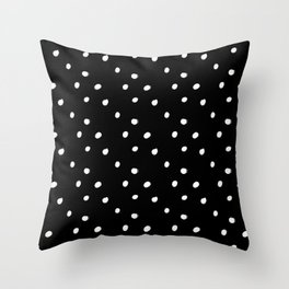white tiny polka dots on black - Mix & Match with Simplicty of life Throw Pillow