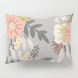 Pink and Gray Floral Pattern Pillow Sham