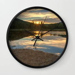 Lily Pond Sunset Wall Clock