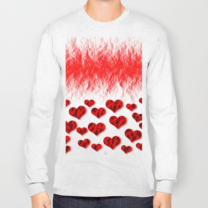 Hearts Abstract Pattern Long Sleeve T-shirt