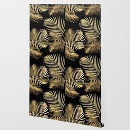 Gold Palm Leaves on Black Wallpaper