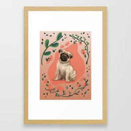 Digital Pug Illustration Framed Art Print