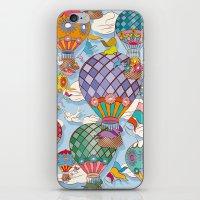 hot air balloon iPhone & iPod Skins featuring Hot Air Balloon by Helene Michau