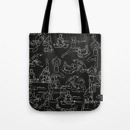Chalkboard Yoga Pattern - white on black Tote Bag