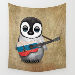 Baby Penguin Playing Russian Flag Guitar Wall Tapestry
