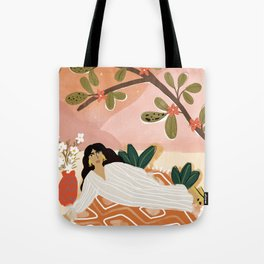 Laying under the full moon Tote Bag