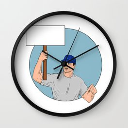 Industrial Worker Activist Placard Protesting Circle Drawing Wall Clock