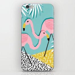 Bro - wacka design memphis throwback minimal retro hipster 1980s 80s neon pop art flamingo lawn iPhone Skin