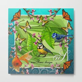 Birdy & Fishy spring blue Metal Print