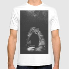 Night Sky Stars - Black and White Delicate Arch at Arches National Park Utah White MEDIUM Mens Fitted Tee