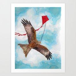 A Kite Flying a Kite Art Print
