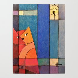 Red cat chasing the bird Poster