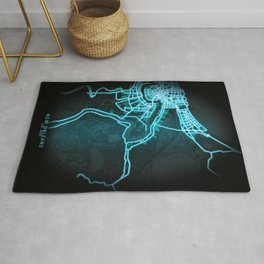 New Orleans, LA, USA, Blue, White, Neon, Glow, City, Map Rug