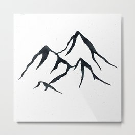 MOUNTAINS Black and White Metal Print