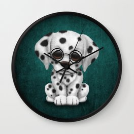 Dalmatian Puppy Wearing Reading Glasses on Blue Wall Clock