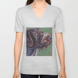 German Wirehaired Pointer dog art portrait from an original painting by L.A.Shepard Unisex V-Neck