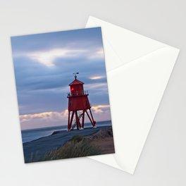 Groyne Lighthouse Sunrise, South Shields Stationery Cards