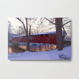 Evening at the old Covered Bridge Metal Print