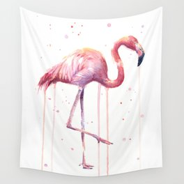 Pink Flamingo Portrait Watercolor Animals Birds | Facing Right Wall Tapestry